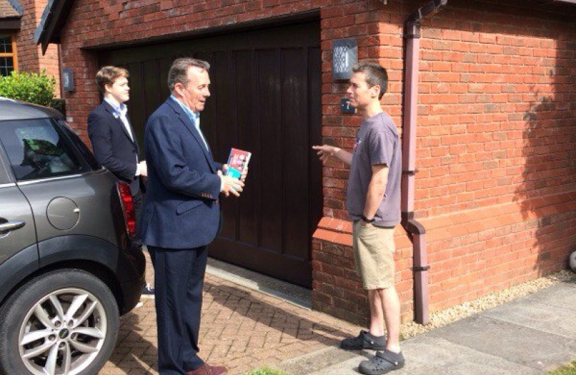 Dr Liam Fox campaigning in Ham Green