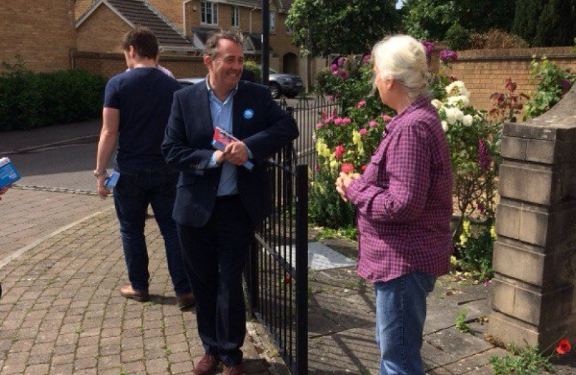 Dr Liam Fox campaigning in Portishead