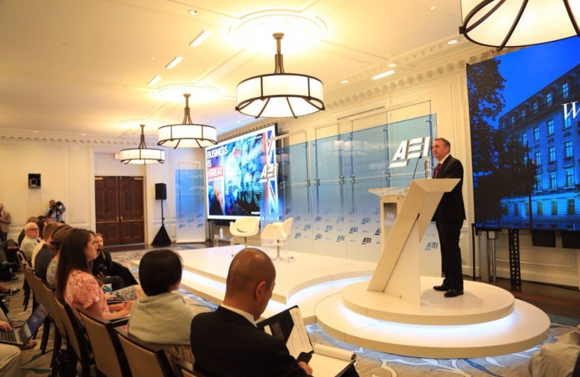 Dr Liam Fox giving a key note speech to the American Enterprise Institute